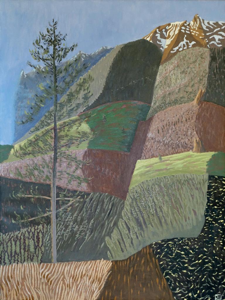 Sapin dans les Alpes - Huile sur toile 80 x 60 cm.