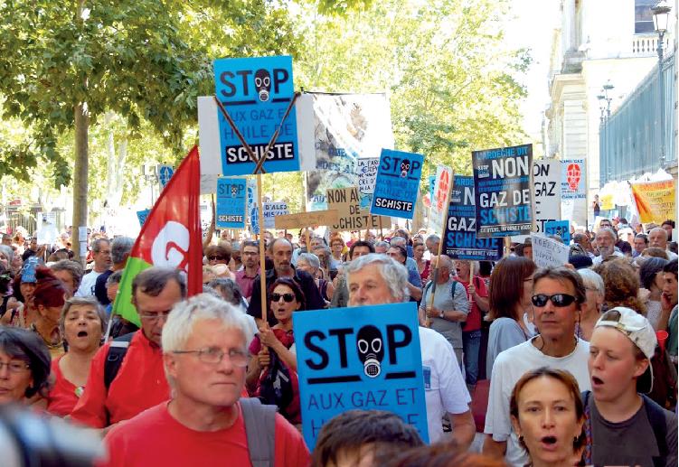 Mobilisation contre le gaz de schiste en Ardèche.