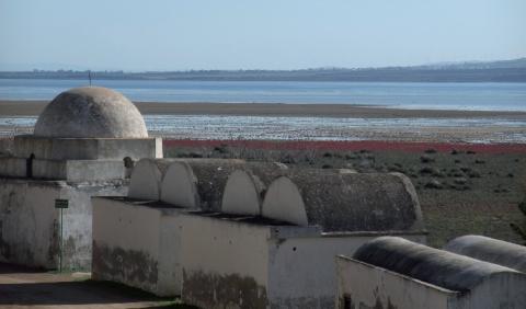 Les hamams, lieux traditionnels de bien-être, à proximité d'une zone humide. Ichkeul, Tunisie.