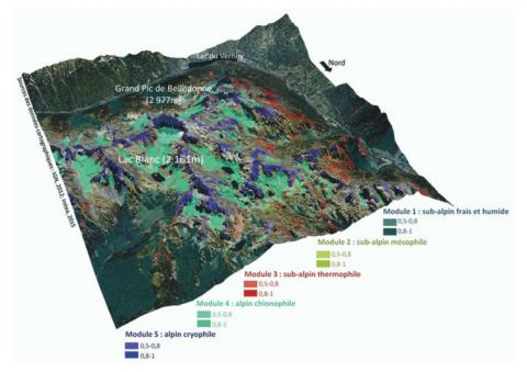 Cartographie de localisation des modules représentatifs des compartiments écologiques structurants sur site d'étude (zoom sur un secteur du massif de Belledonne).