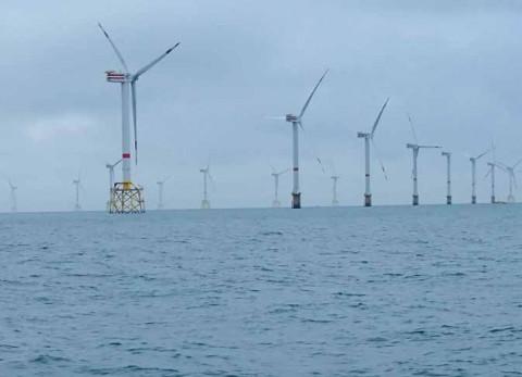 Parc éolien de Thornton en Belgique, constitué de 48 éoliennes (puissance totale 295 MW). © Sylvain Michel - AFB